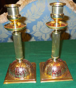A pair of 19th century scarlet boulle Candlesticks
