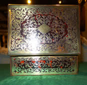 A 19th century scarlet boulle Playing Card Box