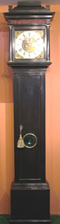 Month going ebonised Longcase Clock by James Clowe