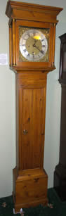 Wonderful cottage pine longcase clock