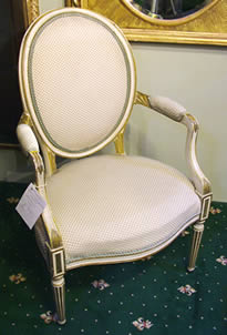 19th century gilt and cream painted French Fauteuil Chair