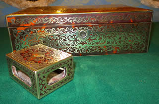 A 19th century scarlet boulle cigar box & matchbox holder