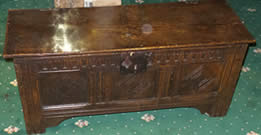 Small 17th century Oak Coffer with original lock and clasp